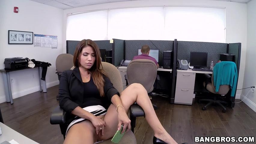 Horny Latina fucked at the office