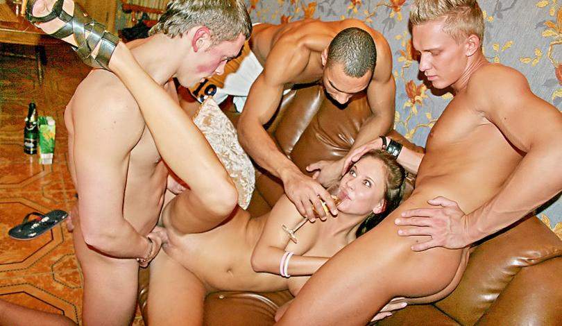 Corporate group orgy in a sauna, part 1 & 2